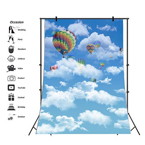 Baocicco Blue Sky White Cloud Hot Air Balloon Backdrop 5x7ft Photography Background Children Birthday Party Decor Newborn Baby Shower Room Wallpaper Holiday Festival Photo Booth Studio Video Props