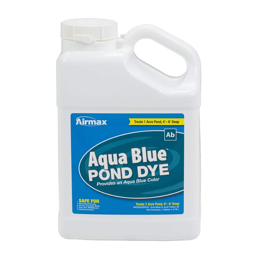 Airmax Aqua Blue Pond Dye Liquid Color, Add Shade & Protection, Enhance Natural Beauty, Safe for Fish, Wildlife, Case 4x1 Gallon