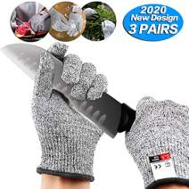 3 Pairs Cut Resistant Gloves - Upgrade Cut Resistant,Cut Resistant Work Gloves, for Meat Cuttin Processing, Gardening,Wood Carving,Pruning nd More,Food Grade Level 5 Protectio (Large -3 Pair)