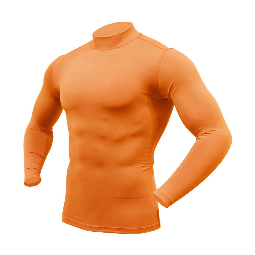 ARMEDES Mens Mock Neck Long-Sleeved T-Shirt Cool Dry Compression Baselayer