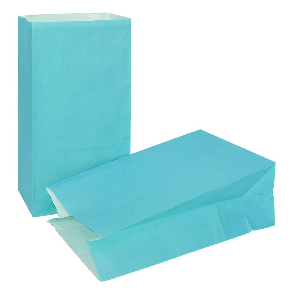 KEYYOOMY Small Paper Bags Blue Paper Goody Gift Bags for Wedding Baby Shower Kid's Birthday Party(24 CT, Blue Color)