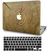 """KECC Laptop Case for MacBook Pro 15"""" (2019/2018/2017/2016) w/Keyboard Cover Plastic Hard Shell A1990/A1707 Touch Bar 2 in 1 Bundle (Cracked Wood)"""