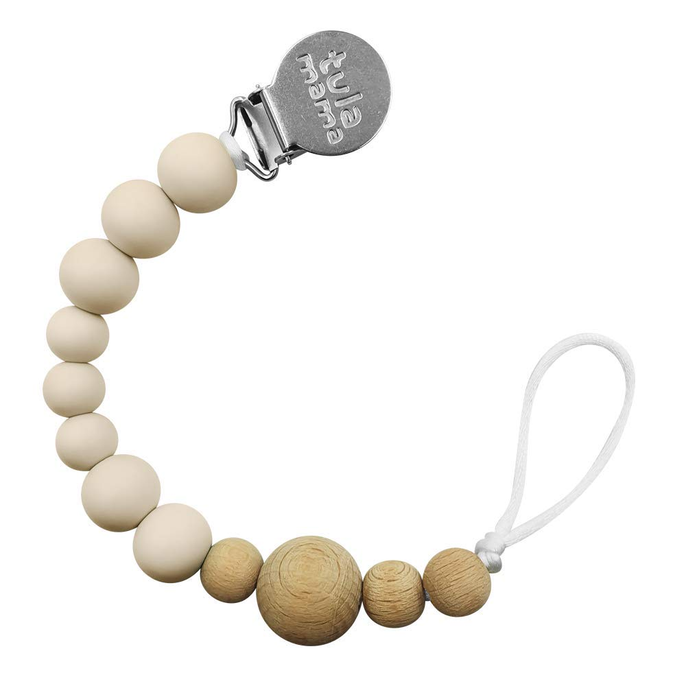 Tulamama Pacifier Clip for Boys & Girls, Fits Soothie, Mam, Nuk Pacifiers, Teething Toys and More. Made of Food Grade Silicone & CPSC Compliant. Beige