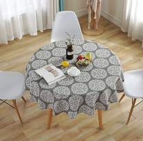 FaFaVila 59Inch/150CM Light Gray Flower Round Tablecloth Cotton Linen Table Cover for Kitchen Dinner Table Decorative Solid Color Table Desk Cover (150cm/59inch, Style-03)