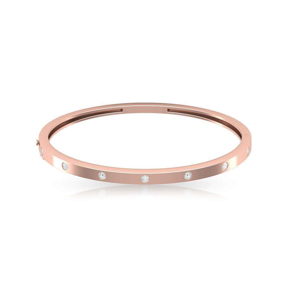 Natural IGI Certified Diamond Bangle Bracelet, Flush Set IJ-SI Diamond Bracelet for Women, Personalized Friendship Valentine Hinged Bracelet for Her, Valentine Day Gift
