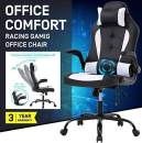 PC Gaming Chair Massage Office Chair High Back Desk Chair Executive PU Leather White Desk Chair w/Headrest and Lumbar Support ,Height Adjustable Ergonomic Office Gaming Chair for Adults