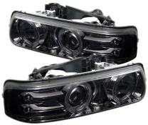 Spyder Auto PRO-YD-CS99-HL-SMC Chevy Silverado 1500/2500/3500/Chevy Suburban 1500/2500/Chevy Tahoe Smoke Halo LED Projector Headlight with Replaceable LEDs