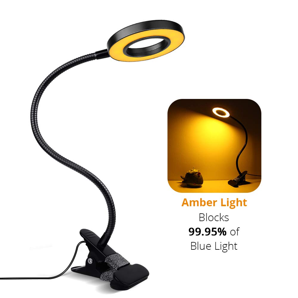 Amber LED Clip Reading Light, Sondiko 24LED Desk Lamp Eye-Caring Book Light, 3 Lighting Modes with 10 Brightness Levels, Sleep Aid Light with Auto Off Timer, Amber Clip Light for Kids, Bookworms