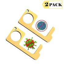 No-Touch EDC Door Opener Closer Portable Stick for Push The Elevator Button Keep Hands Clean Self-Cleaning Reusable Personalized Keychain 2PCS (Gold)