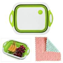 Collapsible Cutting Board Plastic for Kitchen 15×11 Inch Multi-function Silicone Dish Tub - Storage Basket with Cleaning Rag, Washing Veggies Fruits for Camping Picnic BBQ (Green)