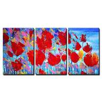 """wall26 Abstract Red Flowers Painting - Canvas Art Wall Decor - 24""""x36""""x3 Panels"""