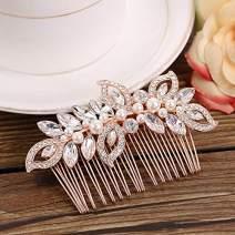 Kercisbeauty Wedding Bridal Bridesmaids Flower Girl Rhinestone Crystal Leaf Rose Gold Hair Comb Slide for Prom,Bun Hair Accessory (Rose Gold)