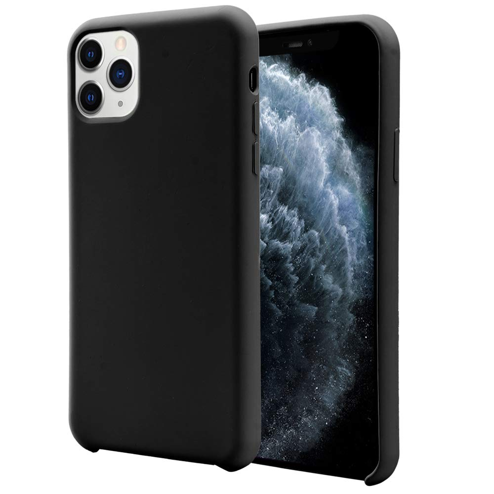 Orzero Liquid Silicone Gel Rubber Case Compatible for iPhone 11 Pro Max 2019, Full Body Shock Absorbing Ultra Slim Protective (Baby Skin Touch) -Black