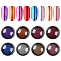 Biutee Mirror Glitter Powder 8 Colors Mirror Laser Synthetic Resin Powder Manicure Art Decoration with 8pcs Eyeshadow Sticks