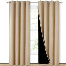 NICETOWN Thermal Insulated 100% Blackout Curtains, Noise Reducing Performance Drapes with Black Lining, Full Light Blocking Drapery Panels for Patio (Biscotti Beige, 1 Pair, 52 inches x 95 inches)