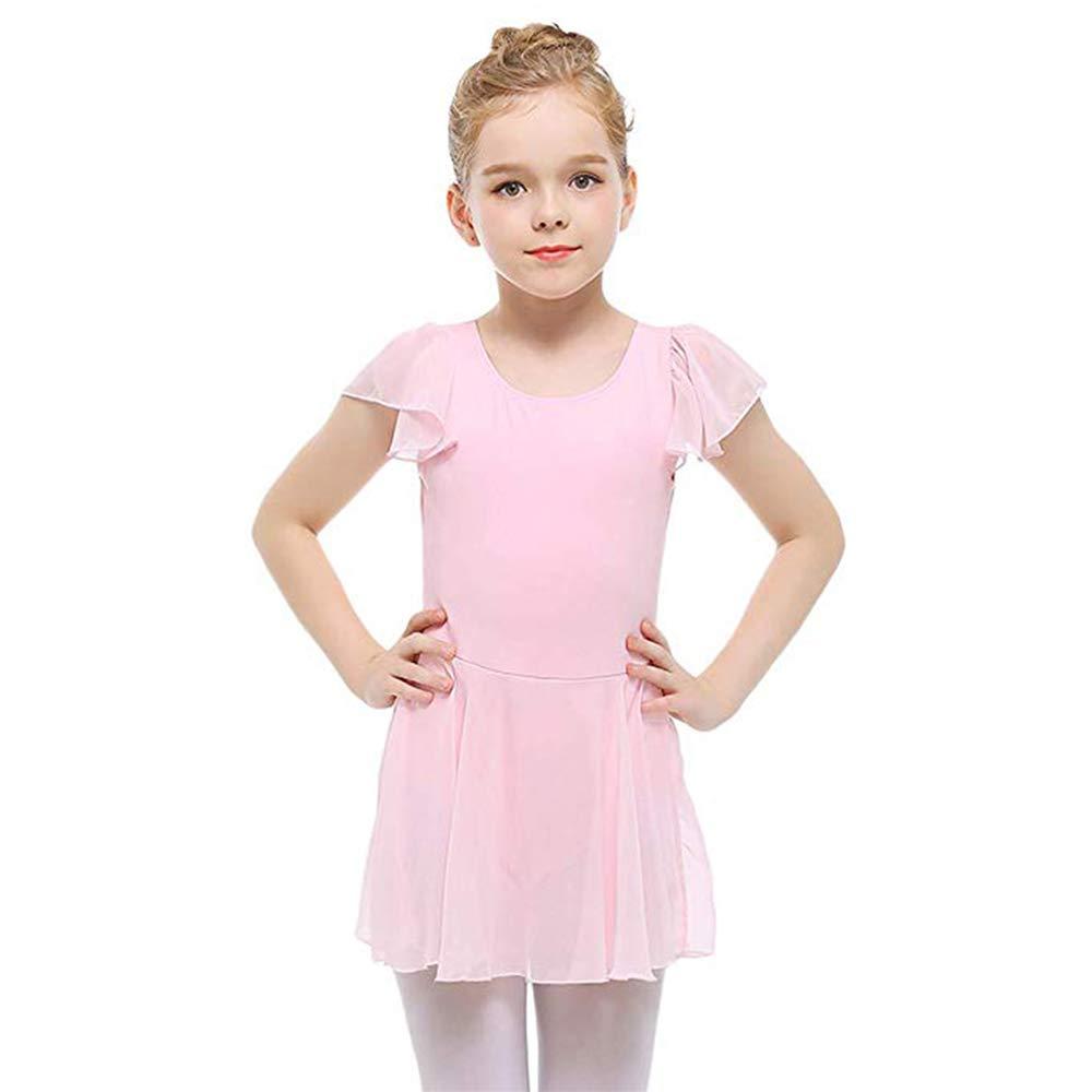 STELLE Girls Ruffle Sleeve Ballet Leotard Dress