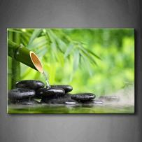 Green Spa Still Life with Bamboo Fountain and Zen Stone in Water Wall Art Painting The Picture Print On Canvas Botanical Pictures for Home Decor Decoration Gift
