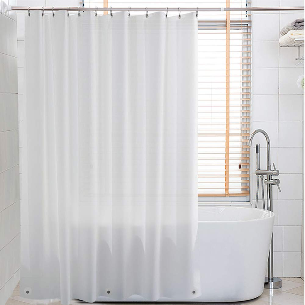 Eforcurtain Elegant White PEVA Shower Curtain Liner with 3 Magnets with Metal Grommets Bathroom Stall Curtain Waterproof, 72 by 72Inch