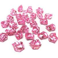 CYS EXCEL Acrylic Ice Rocks (500 Pieces & 9 Cup) for Vase Fillers, Multiple Colour Acrylic Gems for Table Scatters, Event, Wedding, Birthday Decoration (Acrylic Ice Pink, 3 Pounds)