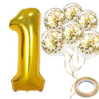 """40"""" Number 1 Gold Balloon and Gold Confetti Balloons,Foil Mylar Gold Balloons Party Supplies for 1st Birthday Party,Baby Shower,Wedding,Engagement,Anniversary Party (Gold)"""