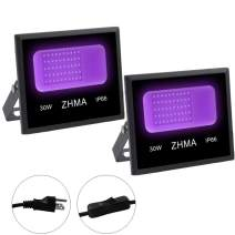 ZHMA 30W UV LED Blacklight,Black Lights for Glow Party, Fluorescent Poster, Body Paint, Cure Resin, Curing UV,Flood Light with Plug, IP66 Waterproof(2 Pack)