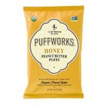 Puffworks Organic Peanut Butter Puffs, Honey   USDA-Organic   Gluten-Free  Non-GMO  Kosher   Healthy Plant-Based Protein Snacks 3.5 oz (Pack of 3)