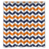 FUNNY KIDS' HOME Navy Deep Blue Orange Chevron- Personalize Custom Bathroom Shower Curtain Waterproof Polyester Fabric 66(w) x72(h) Rings Included