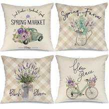 AENEY Spring Decor Pillow Covers 18x18 Set of 4 Buffalo Plaid Farmhouse Spring Decorations for Home Spring Flowers Truck Bicycle Spring Pillows Decorative Spring Throw Pillows A356-18