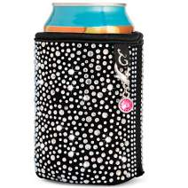 Glamour Puss Can Coolie - Bling Rhinestone Insulated Neoprene Cooler Sleeve for Women. Sparkly Crystal Reusable Beer and Soda Covers for cans and Bottles.