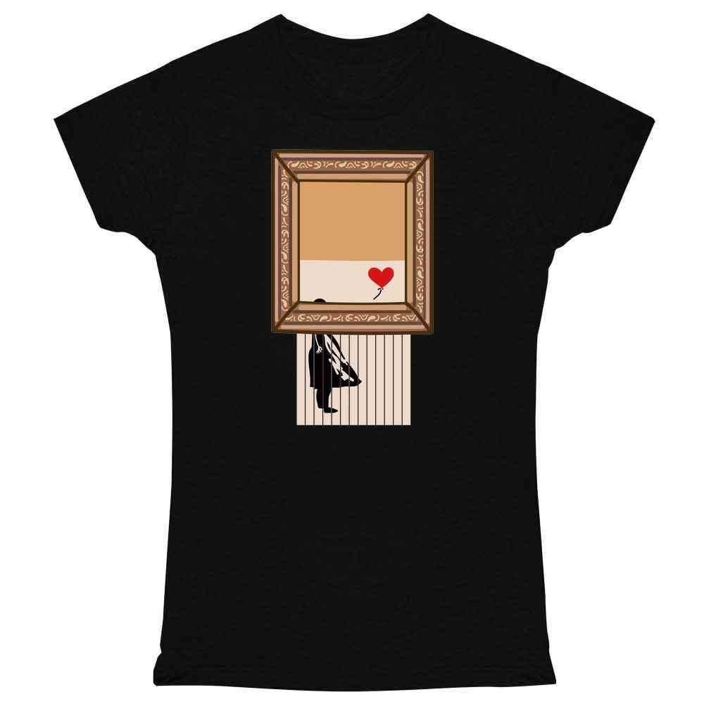 Shredded Banksy Girl with Balloon Funny Art Graphic Tee T Shirt for Women
