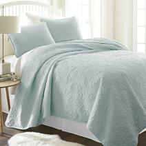 Simply Soft Quilted Coverlet Set Damask Patterned , Twin/Twin X-Large, Pale Blue