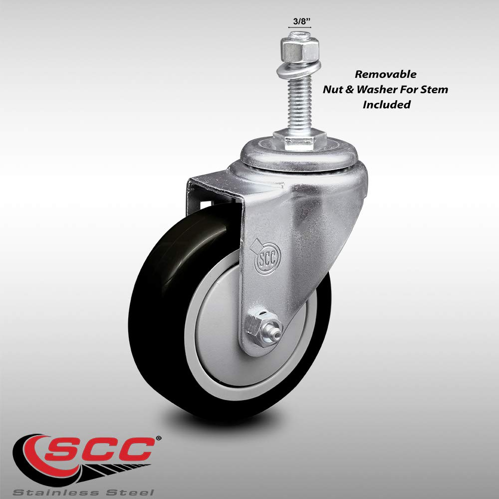 "Stainless Steel Black Polyurethane Swivel Threaded Stem Caster w/4"" x 1.25"" Wheel and 3/8"" Stem - 300 lbs Capacity/Caster - Service Caster Brand"