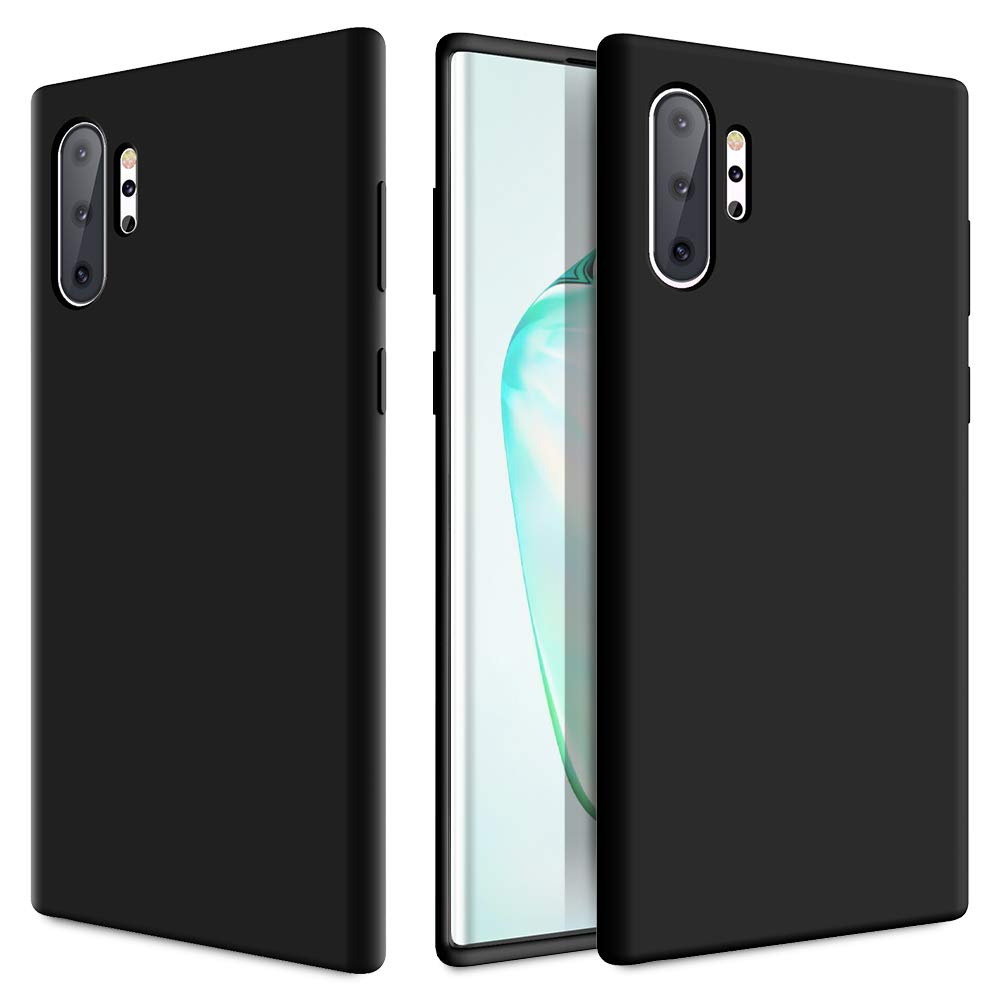 Caka Galaxy Note 10 Plus Case, Galaxy Note 10 Plus Liquid Silicone Case Gel Rubber Soft Slim Girly Luxury Microfiber Cloth Lining Cushion Cute Protective Case for Galaxy Note 10 Plus 5G (Black)