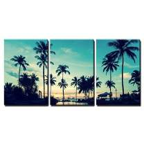 "wall26 - 3 Piece Canvas Wall Art - Soft Twilight of The Amazing Tropical Marine Beach. - Modern Home Decor Stretched and Framed Ready to Hang - 24""x36""x3 Panels"