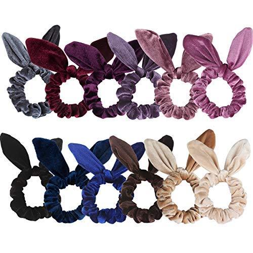 Ondder 12 Pack Velvet Scrunchies Hair Scrunchies Rabbit Bunny Ear Bow Bowknot Scrunchies Velvet Scrunchy Bobbles Elastic Hair Ties Bands Ponytail Holder, 12 Colors