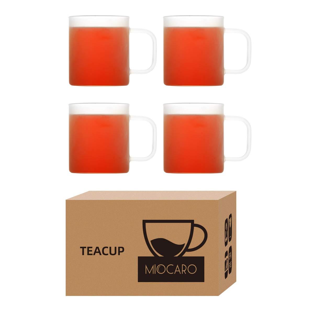 MIOCARO Glass Espresso Mug Coffee Cup Matt Tea Cup With Handle - 12 oz, Set of 4