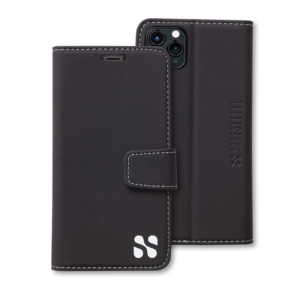 SafeSleeve EMF Protection Anti Radiation iPhone Case: iPhone 11 Pro Max RFID EMF Blocking Wallet Cell Phone Case (Black)