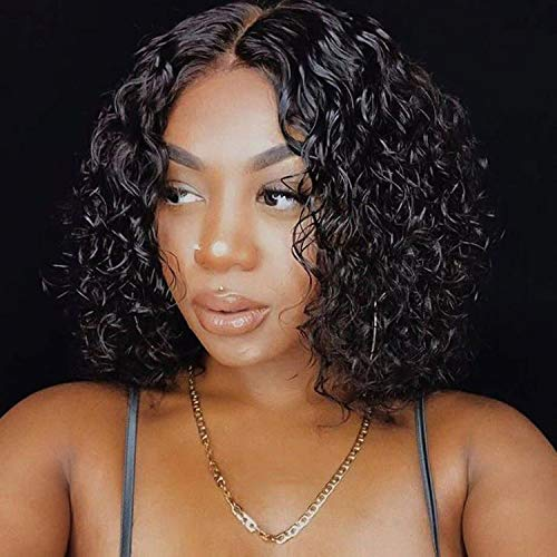 Brazilian Human Hair Short Curly Wigs for Black Women Human Hair Glueless Deep Wave Curly Wigs for Women Bob Wigs With Middle Part Lace Natural Color(12 inches with 150% density)
