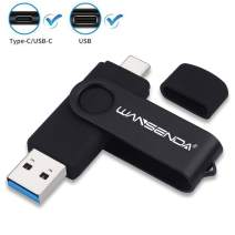 256GB OTG USB C Type C Flash Drive USB 3.0/3.1 Computer Backup Stick (Black, Not for iPhone)