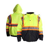 FONIRRA High Visibility Safety Bomber Jacket for Men with Quilted Lining, ANSI Class 3 Winter Waterproof Work Jacket Hoodie with Black Bottom(Yellow,M)
