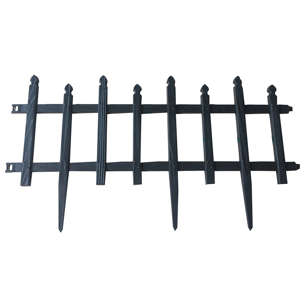 ABBA ECO Garden Border Fencing Eco-Friendly Weatherproof Recycled Plastic Resin Garden Edging Section-6 Pack, 24.4 inch x 13 inch, Black