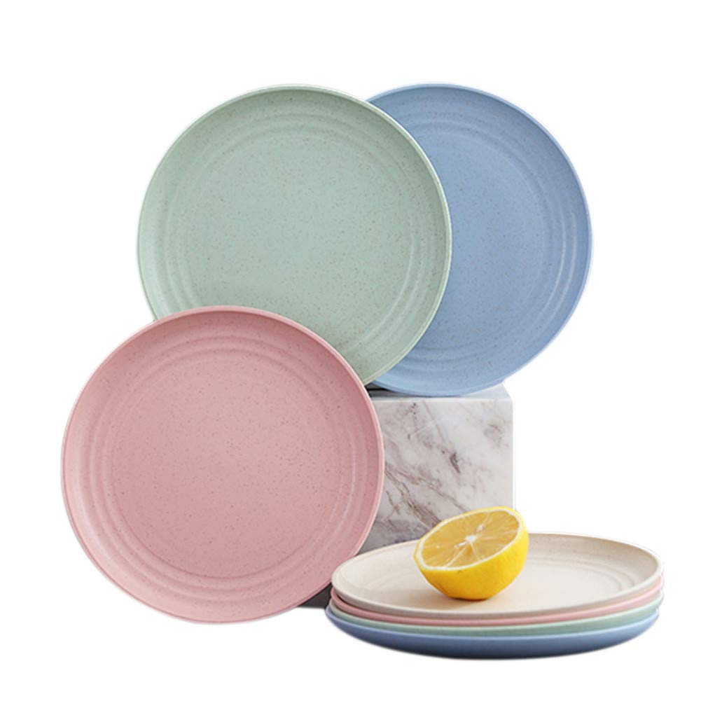 RemeeHi Wheat Straw Deep Dinner Plates - Microwave and Dishwasher Safe Unbreakable Sturdy Plastic Dinner Plates Small Green 8pcs