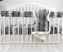 Sahaler Baby Crib Bedding Set for Girls Boys | 4 Pieces Set of Floral Nursery Bedding | Baby Blanket & Fitted Crib Sheets & Skirt & Rail Cover - White