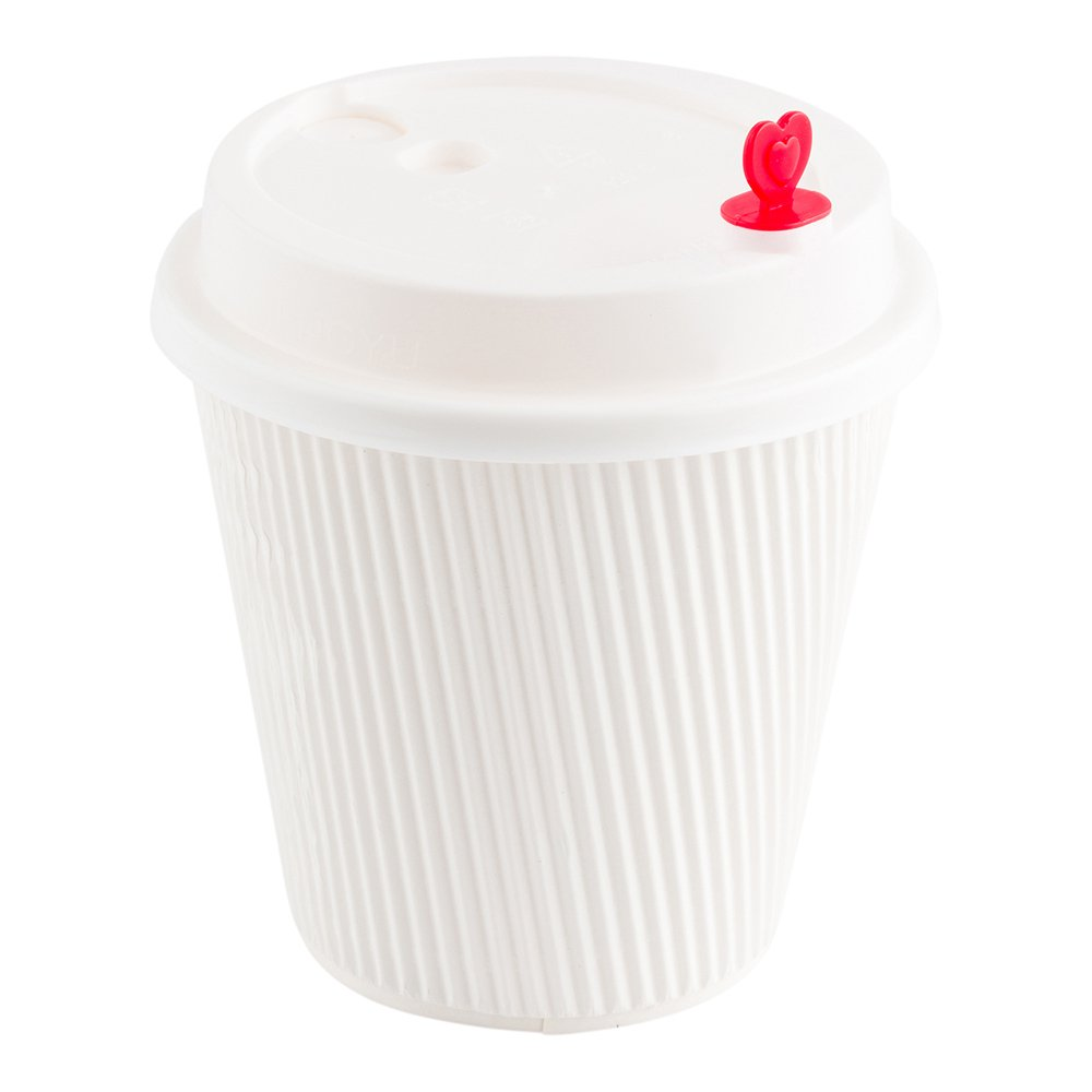 White Plastic Coffee Cup Lid - Fits 8, 12, 16 and 20 oz, with Red Heart Plug - 50 count box - Restaurantware