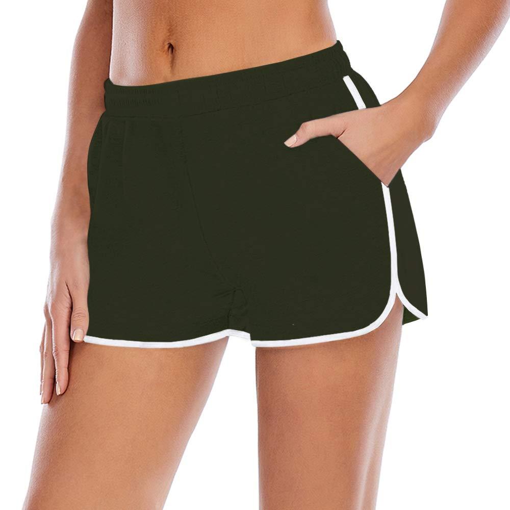 Yidarton Women's Cotton Blend Yoga and Running ShortsLayer Elastic Waist Drawstring