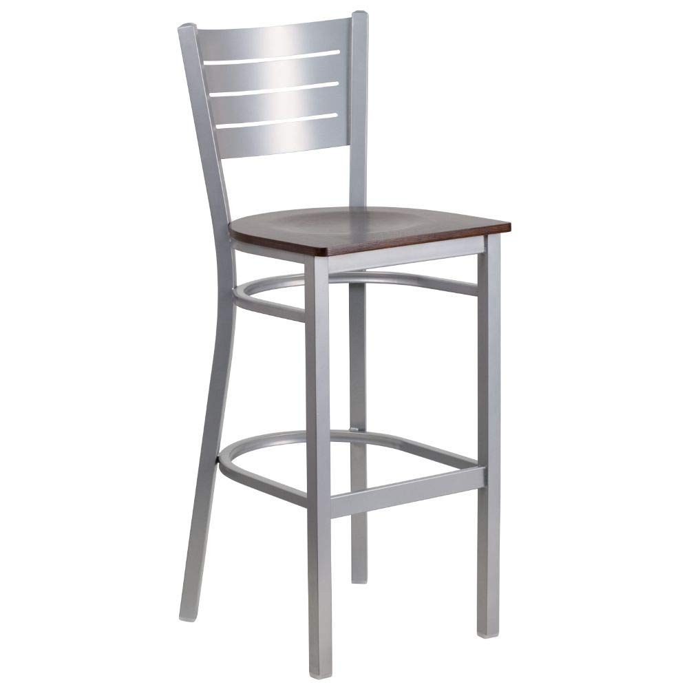 Flash Furniture HERCULES Series Silver Slat Back Metal Restaurant Barstool - Walnut Wood Seat