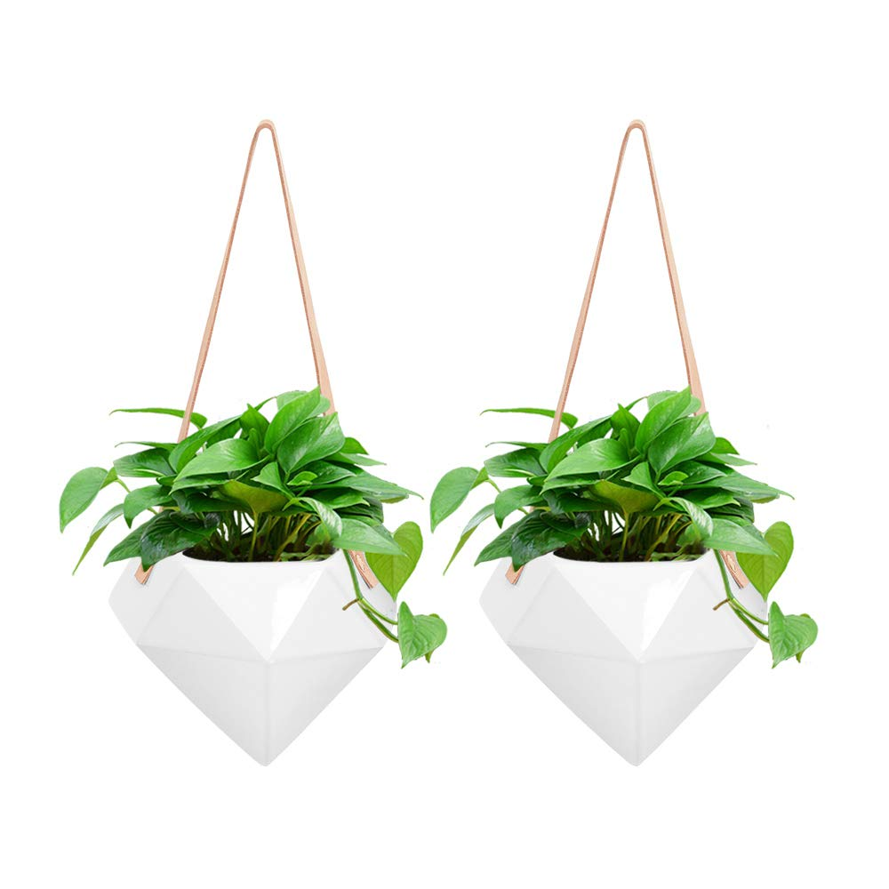 GROWNEER 2 Packs 4 Inches White Ceramic Hanging Planter Porcelain Wall Decor Flower Pots for Succulents, Air Plant, Gift, Garden, Herbs, Plants, Indoor Outdoor Use