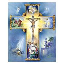 eZAKKA DIY 5D Diamond Painting by Number Kits, 8x10 Inches Jesus Cross Diamond Art Kits Crystal Rhinestone Embroidery Pictures Full Square Drill for Home Wall Decor