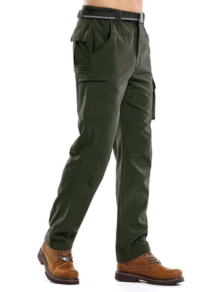 Asfixiado Hiking Pants Men Waterproof Snow Ski Fleece Lined Insulated Outdoor Winter Fishing Soft Shell Pants