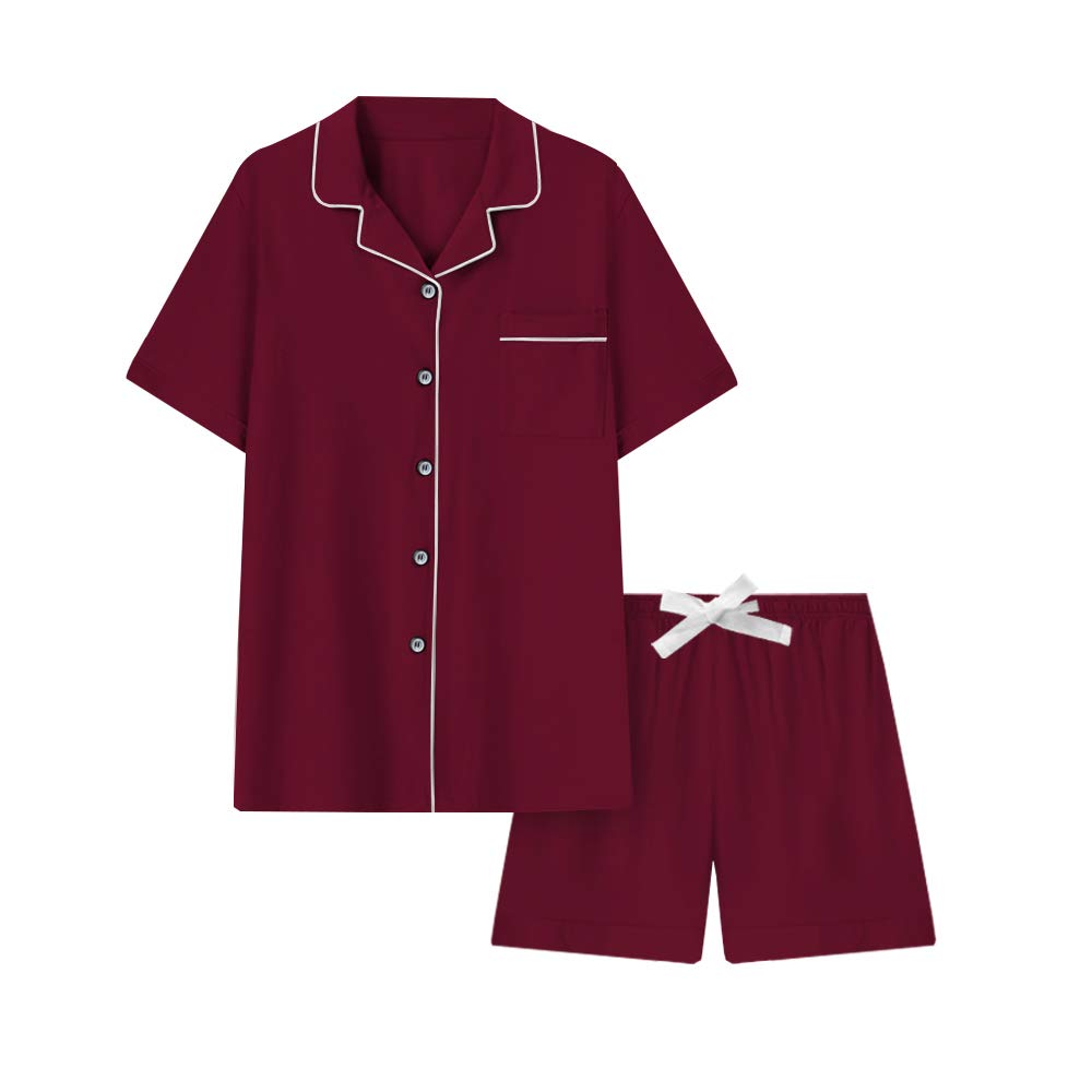 COLORFULLEAF Women's Pajama Set Button Down Short Sleeve PJS Top and Sleep Shorts